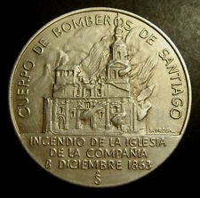 CHILE, CENTENARY OF THE VOLUNTEER FIREFIGHTERS OF SANTIAGO 1863-1963, SILVER