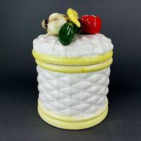 Vintage Canister Vegetables Basket Weave Garlic Peppers Ceramic Made in Japan