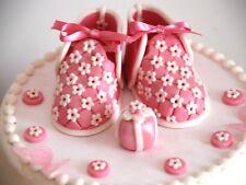 Edible Pink Baby Girl Shoes Set Birthday / Baby sh Handmade Sugarpeste