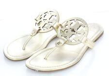 Q38 $198 Women's Sz 10 M Tory Burch Miller Leather Logo Flat Sandals- Gold