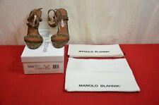 Manolo Blahnik 38 1/2 Sandal Leopard Animal Eufelio Italy Vero Cu010 Woman #1873