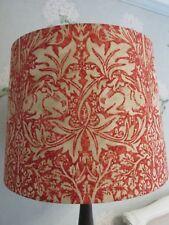 Handmade Taper Drum Lampshade William Morris Brer Rabbit red / hemp fabric 40cm