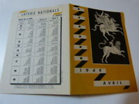LOTERIE NATIONALE - FEUILLET- AVRIL 1949 - LE CHEVAL- (vp01)
