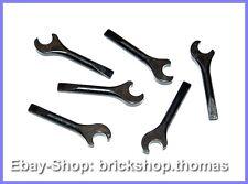 Lego 6 x Wrench Tool Black - 3835 - Screwdrier Black New / New