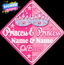 Personalised Princess & Princess Child/Baby on Board Car Sign New Pink ~ Pink !