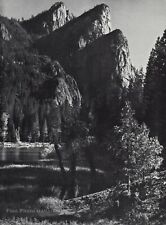1959 Vintage ANSEL ADAMS Yosemite Valley Mountain Peak Landscape Photo Art 12X16