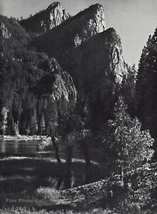 1959 Vintage ANSEL ADAMS Yosemite Valley Mountain Peak Landscape Photo Art 12X16