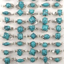 Natural Women's Turquoise Rings 50pcs/lot Wholesale Mixed Size For Promotion