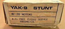 """NIB A-J's Free Flight Service """"Yak-9"""" Control Line Stunt Model Airplane Kit"""