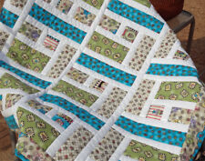 """41"""" Square Friendship Garden Quilt in Blue, Greens, Pinks and White Sashing,"""
