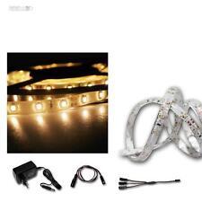LED Banda de luz Set 2x2,4m blanco cálido, SMD - rayas + Transformador, Tira