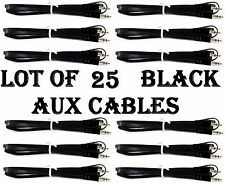 LOT OF 25 BLACK AUX CABLES AUXILIARY CORD Male Stereo Audio Cable iPod MP3 CAR