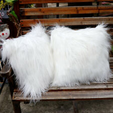White Fluffy Faux Fur Plush Pillow Case Cover Cushion Cover Sofa Home Decor 18""