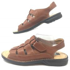 Johnston Murphy Fisherman Sandal Men 10 M Open Toe  Brown Leather Sheepskin B01