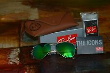 New Ray Ban Aviator RB3025 112/17 58mm Gold Frame green Mirror Unisex