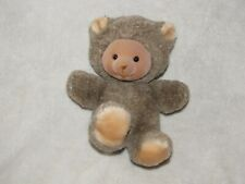 "Vintage Russ Berrie Stuffed Plush Brown Tan Teddy Bear Small 7"" Flocked Face"