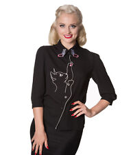 Dancing Days by Banned Snow Bird Cat Butterfly Chiffon Snowbird Shirt Blouse UK 8 (xs) Black