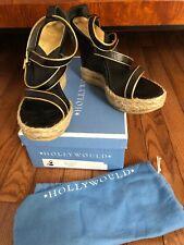 Hollywould Black Lucy Espadrille Platform Sandals Wedges 39