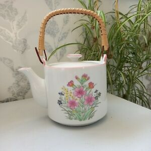 Vintage Japanese Teapot with Cane Handle and Dainty Floral Print
