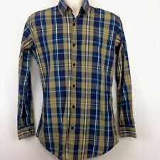 Being Human Clothing Mens Large Button Shirt Slim Fit Long Sleeve Plaid Blue
