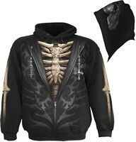 Spiral Direct UNZIPPED Hoodie,Skeleton/Biker/Halloween/Gothic/Pullover/Hoody/Top