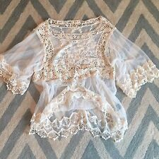 New Anthropologie Women's Crochet & Lace Ethereal Boho Gypsy Cream Blouse Top OS