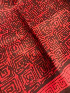 Vintage 100% Silk Red  ,Brown  Geometric Design Pocket Square