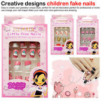 24Pcs/Box False Nail Tips Children Fake Press on Nails Art DIY For Kids US Hot