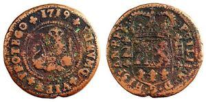 Spain-Felipe V. 4 maravedis. 1719. Zaragoza. Cobre 7,5 g. ESCASA