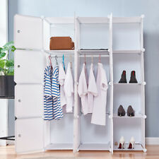 Diy Bedroom Wardrobe Clothes textile Storage Organizer 6 Cubes 2 Hangers Home Us