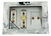 Elgin Posh Bejeweled Bracelet Watch Earrings Gift Set