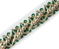 """5 Yards Metallic Trim with Beads Green & Light Gold Braid, Lace Ribbon 1/2"""" Wide"""