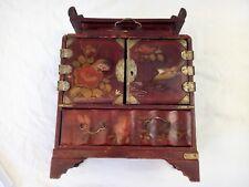 Coffret à bijoux cabinet chine laqué rouge et oiseaux pagode XIX