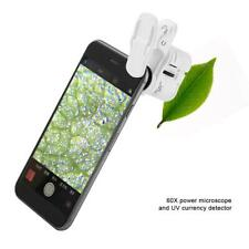 60X Mini Mobile Phone Microscope with Clip LED UV lights Magnifying Glass