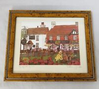 "Penny Cox Signed Lithograph A Quiet Pint Dogs Pubs Beer Framed 11.5""×9.5"""