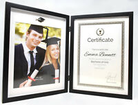 Black Graduation Photo Frame Certificate Holder Double Hinged Book Picture 8x10