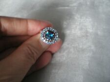 London Blue Topaz & Diamond ring, size N/O, 2.08 carats, 4 grams of 925 Sterling
