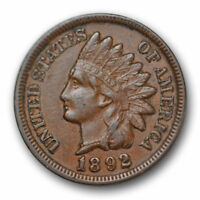 1892 Indian Head Cent Uncirculated Mint State Jewel Variety Coin ? US Coin #7442