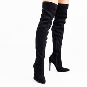 Ladies Sexy High Heel Lace Up Over The Knee Thigh Boots Pointed Toe Zipper Shoes