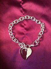 925 Braccialetto D'Argento doppio cuore in velluto sacchetto UK venditore
