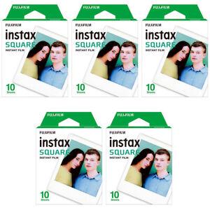 5 Packs 50 Instant Photos FujiFilm Instax SQUARE Film Polaroid Camera For SQ20