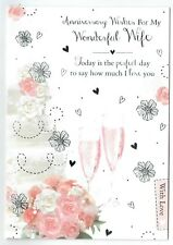 Wife Anniversary Card ~ With Embossed Wedding Cake, Glasses And Flowers