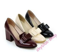 Womens New Patent Leather Square Toe Bowknot Block High Heels Pump Office Shoes