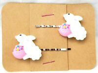 EASTER BUNNY with Basket - Handmade Bobby PIn Hair clips - Set of 2