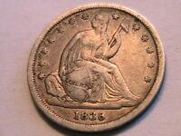 1838 Small Stars Seated Dime Choice XF+/AU Lustrous Light Tone USA 10 Cent Coin