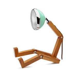 Mr Wattson LED wooden lamp Tiffany Green adaptable plug Office Desk Home Design