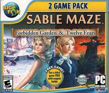 Sable Maze FORBIDDEN GARDEN + TWELVE FEARS Hidden Object PC Game NEW + Bonus