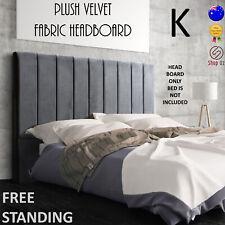New KING SIZE BED HEAD BOARD HEADBOARD Velvet Fabric Bedhead Grey