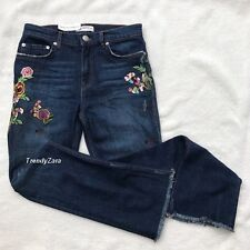 NEW ZARA CROPPED EMBROIDERED JEANS REF. 6840/277 SIZE EU36 / UK8 / US4