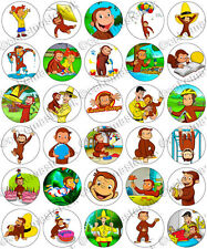 30 x Curious George Party Edible Rice Wafer Paper Cupcake Toppers
